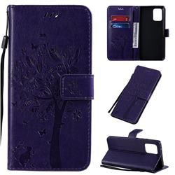 Embossing Butterfly Tree Leather Wallet Case for Samsung Galaxy A91 - Purple