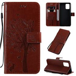 Embossing Butterfly Tree Leather Wallet Case for Samsung Galaxy A91 - Coffee