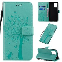 Embossing Butterfly Tree Leather Wallet Case for Samsung Galaxy A91 - Cyan