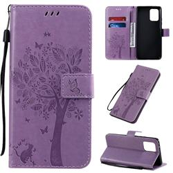 Embossing Butterfly Tree Leather Wallet Case for Samsung Galaxy A91 - Violet