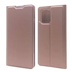 Ultra Slim Card Magnetic Automatic Suction Leather Wallet Case for Samsung Galaxy A91 - Rose Gold