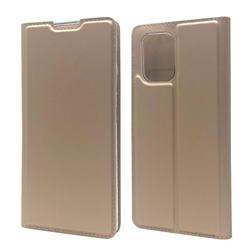Ultra Slim Card Magnetic Automatic Suction Leather Wallet Case for Samsung Galaxy A91 - Champagne