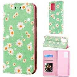 Ultra Slim Daisy Sparkle Glitter Powder Magnetic Leather Wallet Case for Samsung Galaxy A91 - Green