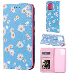 Ultra Slim Daisy Sparkle Glitter Powder Magnetic Leather Wallet Case for Samsung Galaxy A91 - Blue