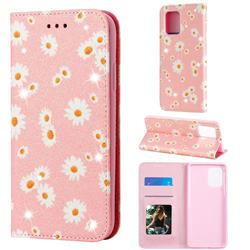 Ultra Slim Daisy Sparkle Glitter Powder Magnetic Leather Wallet Case for Samsung Galaxy A91 - Pink