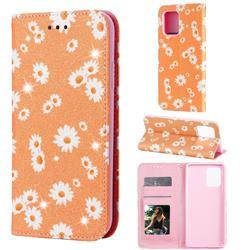 Ultra Slim Daisy Sparkle Glitter Powder Magnetic Leather Wallet Case for Samsung Galaxy A91 - Orange