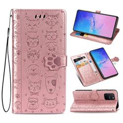 Embossing Dog Paw Kitten and Puppy Leather Wallet Case for Samsung Galaxy A91 - Rose Gold