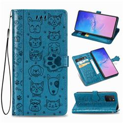Embossing Dog Paw Kitten and Puppy Leather Wallet Case for Samsung Galaxy A91 - Blue