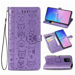 Embossing Dog Paw Kitten and Puppy Leather Wallet Case for Samsung Galaxy A91 - Purple