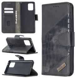 BinfenColor BF04 Color Block Stitching Crocodile Leather Case Cover for Samsung Galaxy A91 - Black