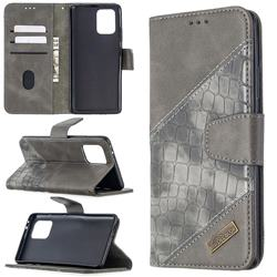 BinfenColor BF04 Color Block Stitching Crocodile Leather Case Cover for Samsung Galaxy A91 - Gray