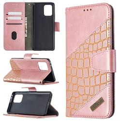 BinfenColor BF04 Color Block Stitching Crocodile Leather Case Cover for Samsung Galaxy A91 - Rose Gold