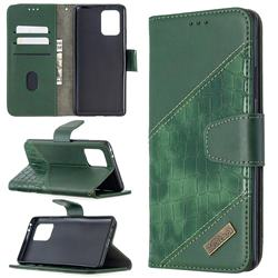 BinfenColor BF04 Color Block Stitching Crocodile Leather Case Cover for Samsung Galaxy A91 - Green