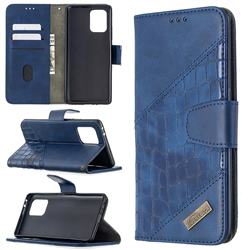 BinfenColor BF04 Color Block Stitching Crocodile Leather Case Cover for Samsung Galaxy A91 - Blue
