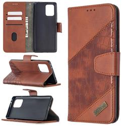 BinfenColor BF04 Color Block Stitching Crocodile Leather Case Cover for Samsung Galaxy A91 - Brown