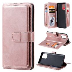Multi-function Ten Card Slots and Photo Frame PU Leather Wallet Phone Case Cover for Samsung Galaxy A91 - Rose Gold