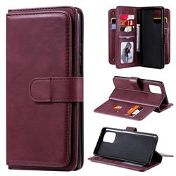 Multi-function Ten Card Slots and Photo Frame PU Leather Wallet Phone Case Cover for Samsung Galaxy A91 - Claret