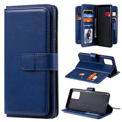 Multi-function Ten Card Slots and Photo Frame PU Leather Wallet Phone Case Cover for Samsung Galaxy A91 - Dark Blue