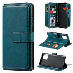 Multi-function Ten Card Slots and Photo Frame PU Leather Wallet Phone Case Cover for Samsung Galaxy A91 - Dark Green