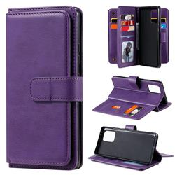 Multi-function Ten Card Slots and Photo Frame PU Leather Wallet Phone Case Cover for Samsung Galaxy A91 - Violet