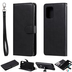 Retro Greek Detachable Magnetic PU Leather Wallet Phone Case for Samsung Galaxy A91 - Black