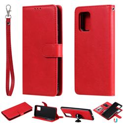 Retro Greek Detachable Magnetic PU Leather Wallet Phone Case for Samsung Galaxy A91 - Red