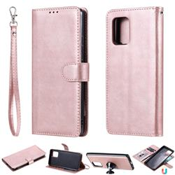 Retro Greek Detachable Magnetic PU Leather Wallet Phone Case for Samsung Galaxy A91 - Rose Gold