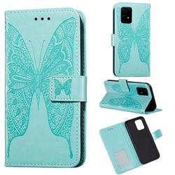 Intricate Embossing Vivid Butterfly Leather Wallet Case for Samsung Galaxy A91 - Green