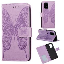 Intricate Embossing Vivid Butterfly Leather Wallet Case for Samsung Galaxy A91 - Purple
