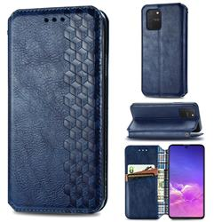 Ultra Slim Fashion Business Card Magnetic Automatic Suction Leather Flip Cover for Samsung Galaxy A91 - Dark Blue