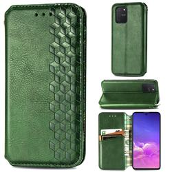 Ultra Slim Fashion Business Card Magnetic Automatic Suction Leather Flip Cover for Samsung Galaxy A91 - Green