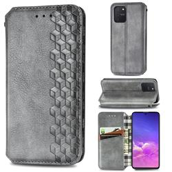 Ultra Slim Fashion Business Card Magnetic Automatic Suction Leather Flip Cover for Samsung Galaxy A91 - Grey