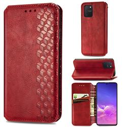 Ultra Slim Fashion Business Card Magnetic Automatic Suction Leather Flip Cover for Samsung Galaxy A91 - Red