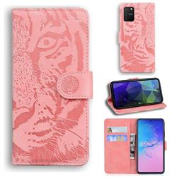 Intricate Embossing Tiger Face Leather Wallet Case for Samsung Galaxy A91 - Pink