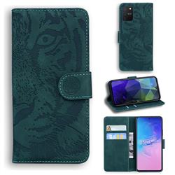Intricate Embossing Tiger Face Leather Wallet Case for Samsung Galaxy A91 - Green