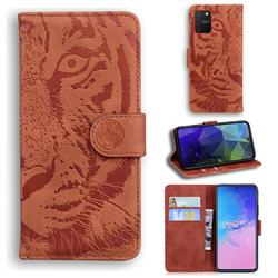 Intricate Embossing Tiger Face Leather Wallet Case for Samsung Galaxy A91 - Brown