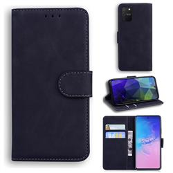 Retro Classic Skin Feel Leather Wallet Phone Case for Samsung Galaxy A91 - Black
