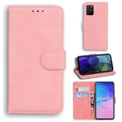 Retro Classic Skin Feel Leather Wallet Phone Case for Samsung Galaxy A91 - Pink