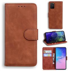 Retro Classic Skin Feel Leather Wallet Phone Case for Samsung Galaxy A91 - Brown