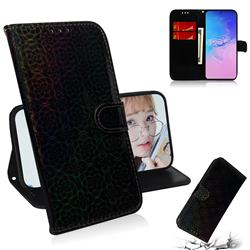 Laser Circle Shining Leather Wallet Phone Case for Samsung Galaxy A91 - Black