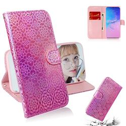 Laser Circle Shining Leather Wallet Phone Case for Samsung Galaxy A91 - Pink
