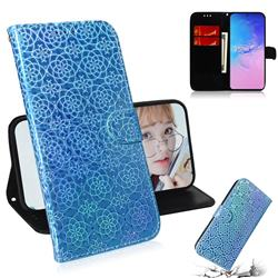 Laser Circle Shining Leather Wallet Phone Case for Samsung Galaxy A91 - Blue