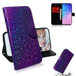 Laser Circle Shining Leather Wallet Phone Case for Samsung Galaxy A91 - Purple