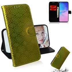 Laser Circle Shining Leather Wallet Phone Case for Samsung Galaxy A91 - Golden