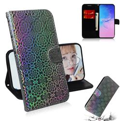Laser Circle Shining Leather Wallet Phone Case for Samsung Galaxy A91 - Silver