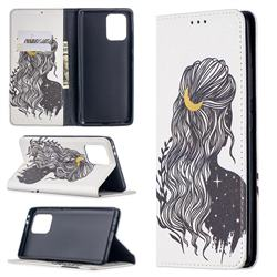 Girl with Long Hair Slim Magnetic Attraction Wallet Flip Cover for Samsung Galaxy A91