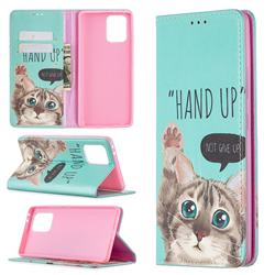 Hand Up Cat Slim Magnetic Attraction Wallet Flip Cover for Samsung Galaxy A91