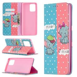 Elephant Boy and Girl Slim Magnetic Attraction Wallet Flip Cover for Samsung Galaxy A91