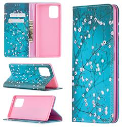 Plum Blossom Slim Magnetic Attraction Wallet Flip Cover for Samsung Galaxy A91