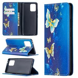 Gold Butterfly Slim Magnetic Attraction Wallet Flip Cover for Samsung Galaxy A91